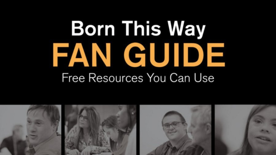 cover art for the cover for the Born This Way Fan Guide, includes photos of the cast of Born This Way