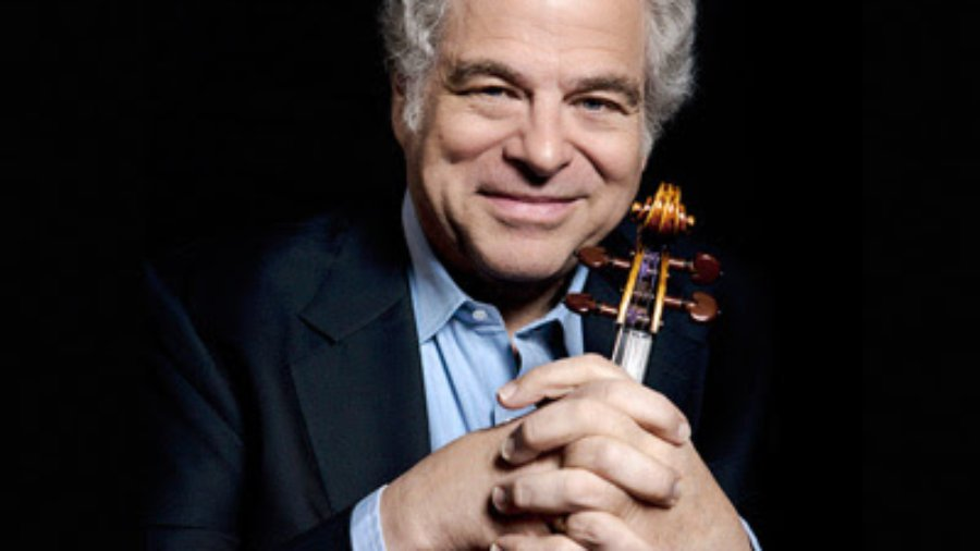 headshot of Itzhak Perlman holding his violin in front of him