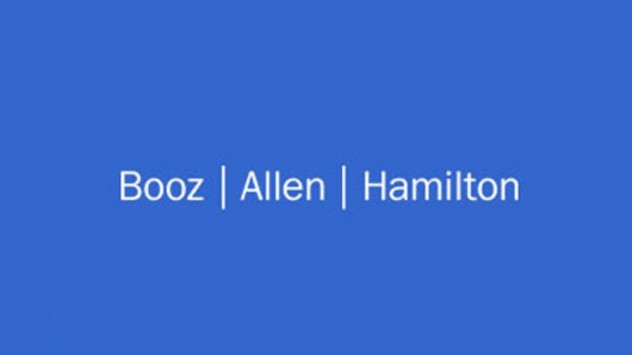 Booz Allen Hamilton logo in white on a blue background