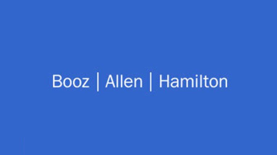 Booz Allen Hamilton logo in white on a blue background