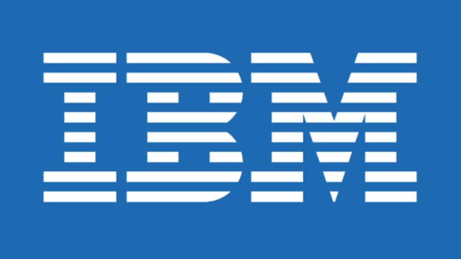 IBM logo in white on blue background