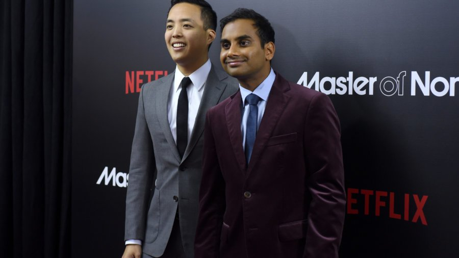 NEW YORK, NY - NOVEMBER 05: Actors Alan Yang (L) and Aziz Ansari attend the