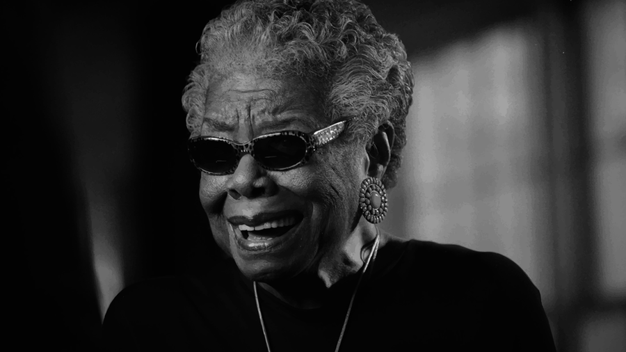 black and white photo of Maya Angelou wearing sunglasses