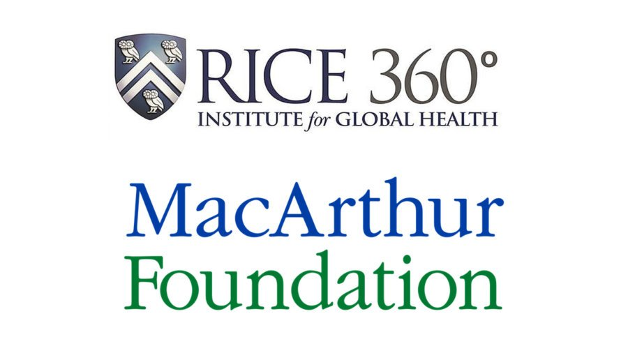 Logos of the Rice 360 Institute for Global Health and the MacArthur Foundation