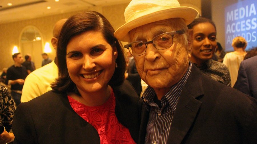 RespectAbility's Lauren Appelbaum with Norman Lear smiling and posing for picture