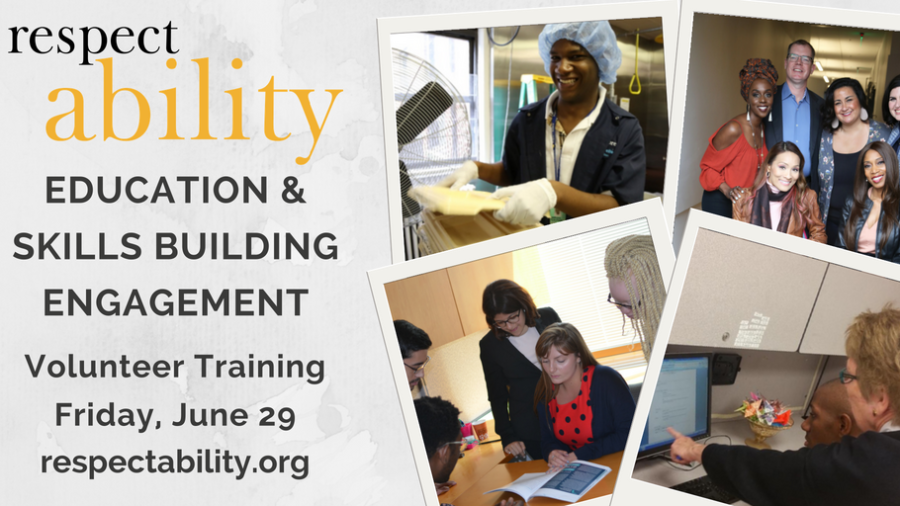 text reads: RespectAbility education and skills building engagement volunteer training Friday June 29 respectability.org