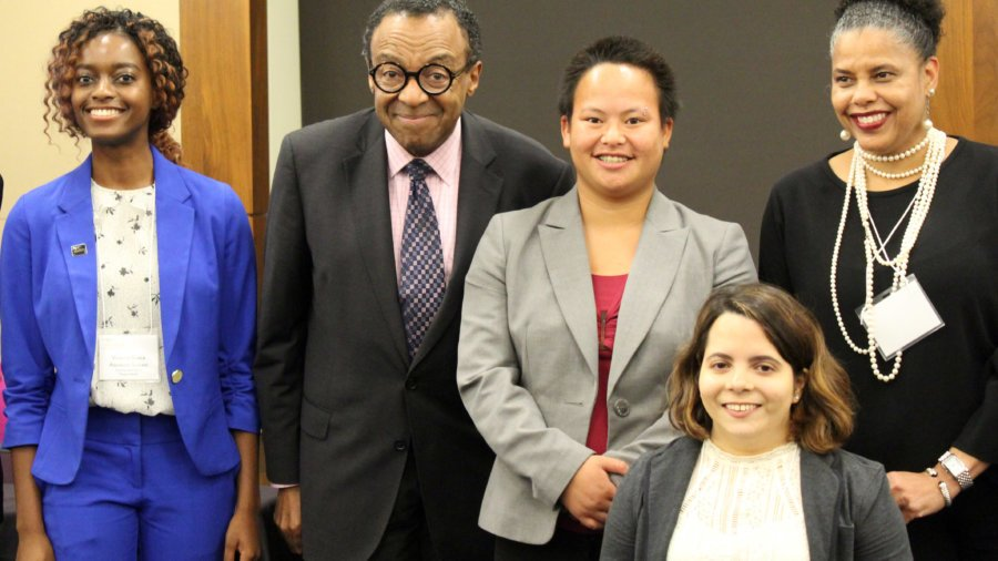 Victoria Grace Assokom-Siakam, Clarence Page, Kaity Hagen, Stephanie Farfan, and Donna Walton smiling
