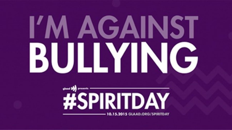 Purple background, white text: I'm against bullying. #SpiritDay