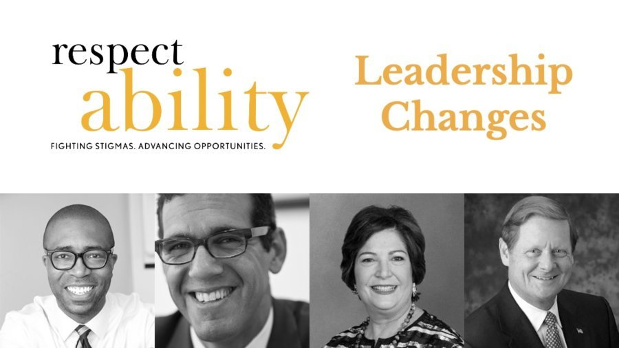 Photos of Calvin Harris, Richard Phillips, Linda Burger and Steve Bartlett. RespectAbility leadership changes on top