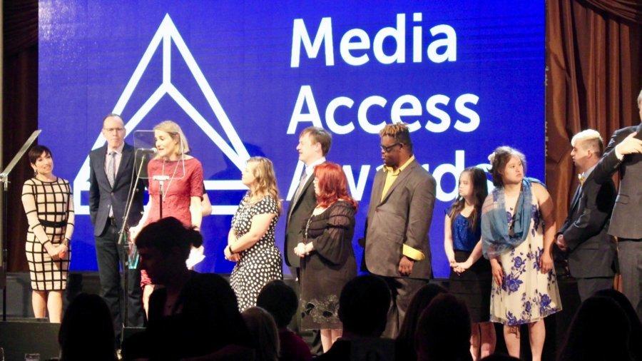 Jonathan Murray and the Born This Way cast present an award to Sasha Alpert and Megan Sleeper at the Media Access Awards 2018