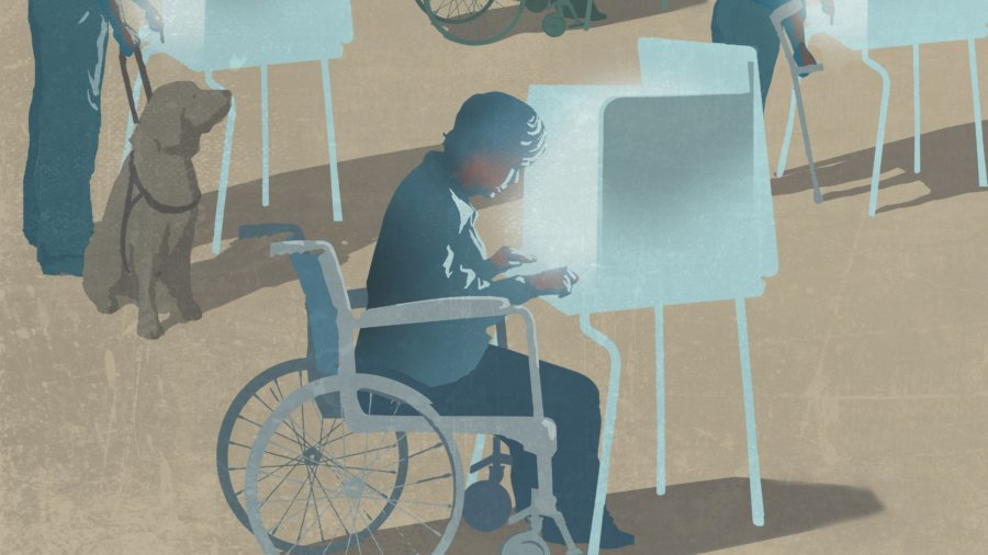voters in wheelchairs and with a dog voting