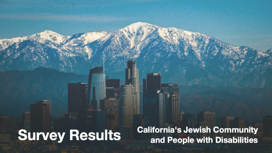 Los Angeles Skyline. Text: Survey Results California's Jewish Community and People with Disabilities