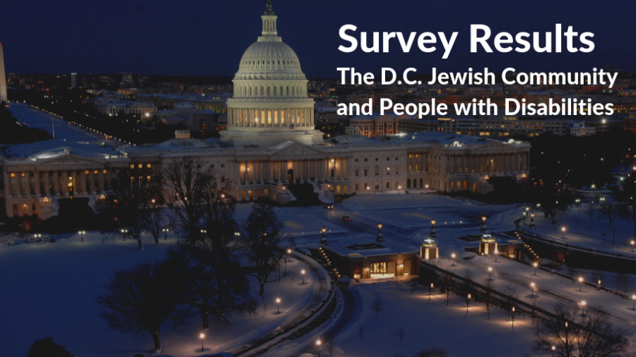 Washington, DC skyline with capitol building in foreground and Washington Monument in background. Text: Survey Results The D.C.-area Jewish Community and People with Disabilities