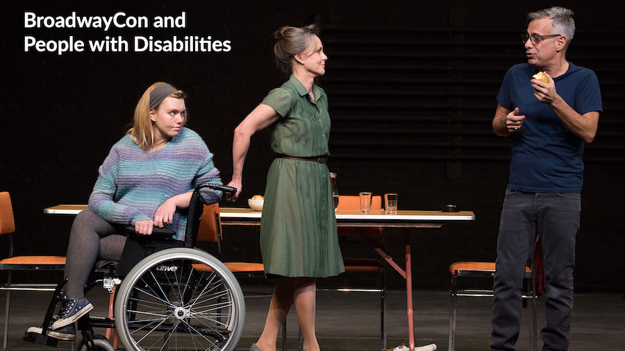 2017 production of The Glass Menagerie with newcomer Madison Ferris, who has muscular dystrophy, on stage as Laura with two other cast members. Credit: Julieta Cervantes