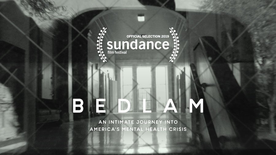 Bedlam An Intimate Journey into America's mental Health Crisis. Official Selection 2019 Sundance film festival. Background image is of a prison hallway