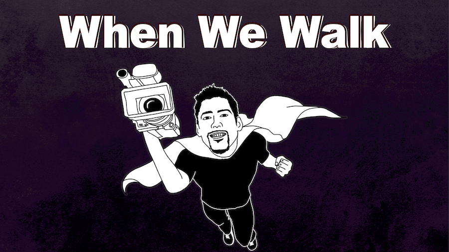 When We Walk. Illustration of a man with a superhero cape flying holding a big film camera