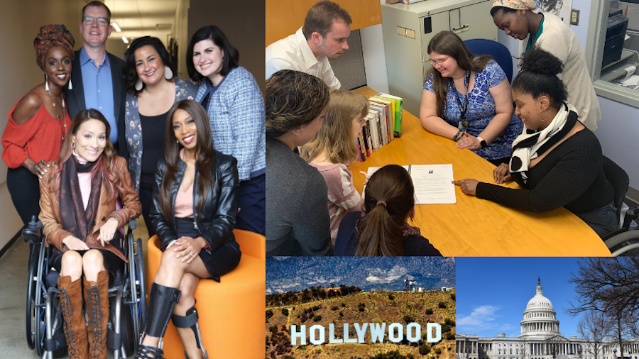 Images of diverse people with disabilities, the Hollywood sign, and the Capitol building