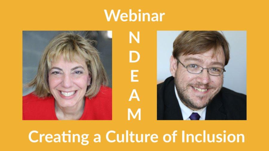 Headshots of Jennifer Laszlo Mizrahi and Philip Kahn-Pauli. Text: Webinar NDEAM Creating a Culture of Inclusion