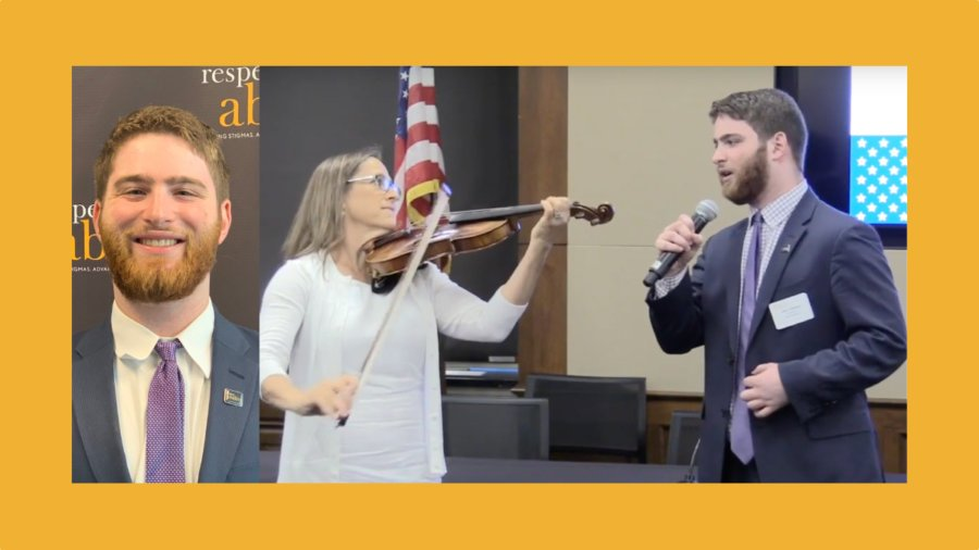 Photos of Adam Fishbein smiling in front of the RespectAbility banner and Adam Fishbein singing the national anthem in front of an American flag with Debbie Fink accompanying him on violin.