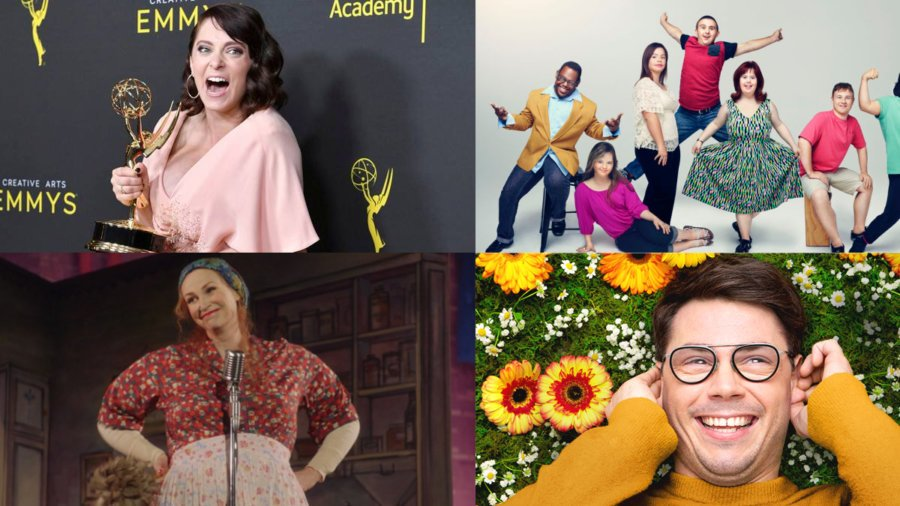 (clockwise) Images of Rachel Bloom holding up an Emmy statue on the red carpet, the Born This Way cast, Ryan O'Connell lying down in a field of flowers, and Jane Lynch in The Marvelous Mrs. Maisel