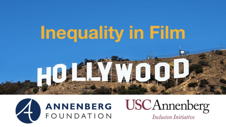 The Hollywood sign in front of a blue sky. Text: Inequality in Film. Logos for Annenberg foundation and USC Annenberg Inclusion Initiative