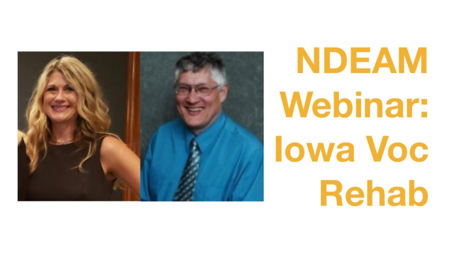 Photos of Michelle Krefft and David Mitchell smiling. Text: NDEAM Webinar: Iowa Voc Rehab
