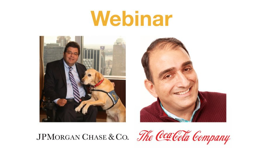 Headshots of Jim Sinocchi and Vincenzo Piscopo above logos for JPMorgan Chase and The Coca-Cola Company. Text: Webinar