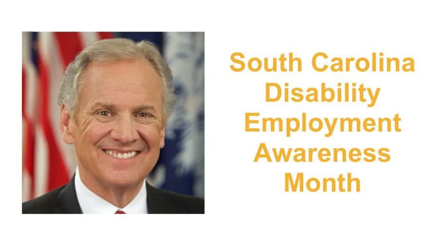 Governor Henry McMaster smiling in front of an American flag. Text: South Carolina Disability Employment Awareness Month