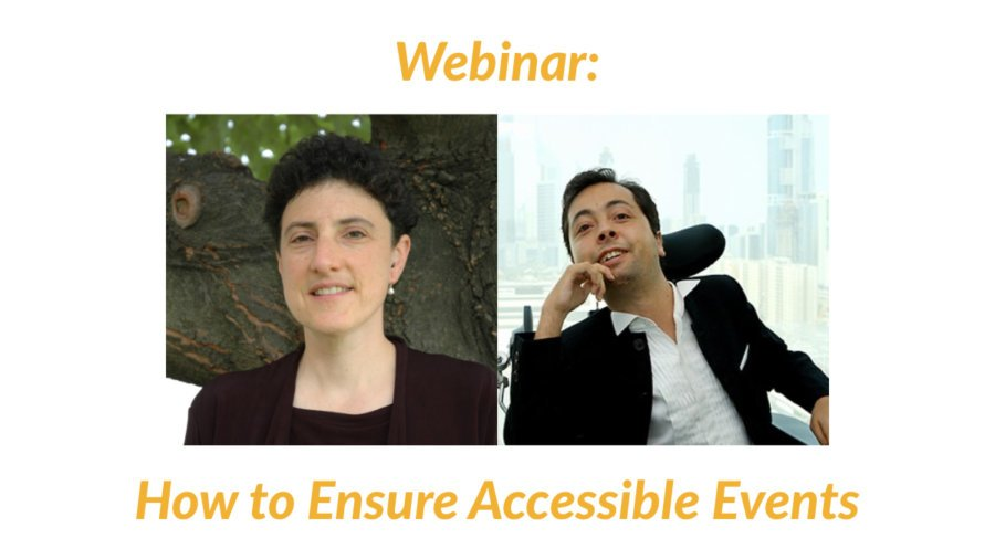 Headshots of Emily Harris and Victor Pineda. Webinar: How to Ensure Accessible Events
