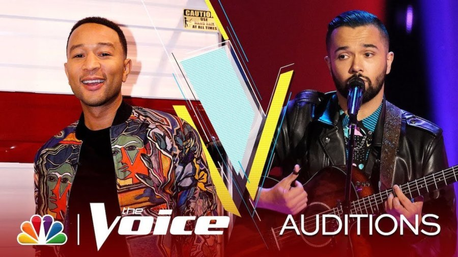 Photos of Will Breman singing on stage on The Voice and John Legend. Logos for NBC and The Voice. Text: Auditions