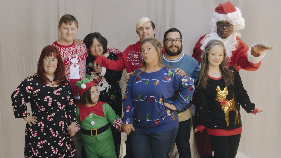 The cast of Born This Way together in festive clothes