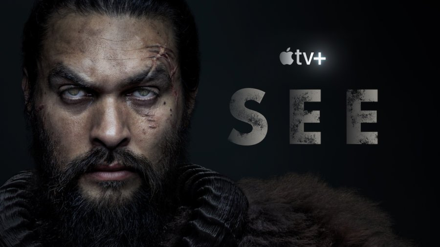 Logos for Apple TV+ and See, with a photo of Jason Mamoa in character as Baba Voss