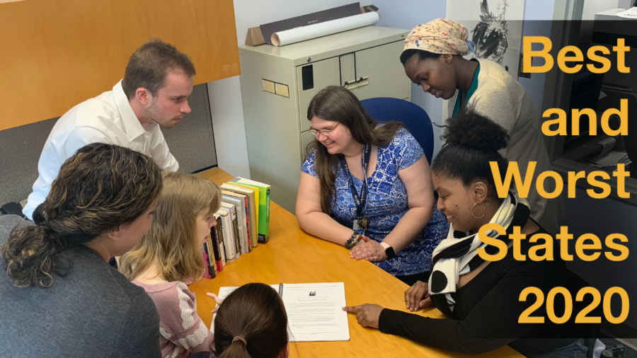 A diverse group of people with disabilities looking at a document together around a table. Text: Best and Worst States 2020