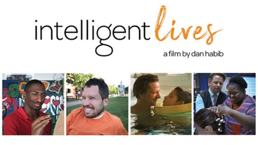 Intelligent Lives logo. A film by Dan Habib. Four images of people featured in the movie smiling