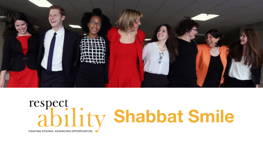 RespectAbility Jewish team members smiling with their arms around each other inside a garage. RespectAbility logo. Text: Shabbat Smile