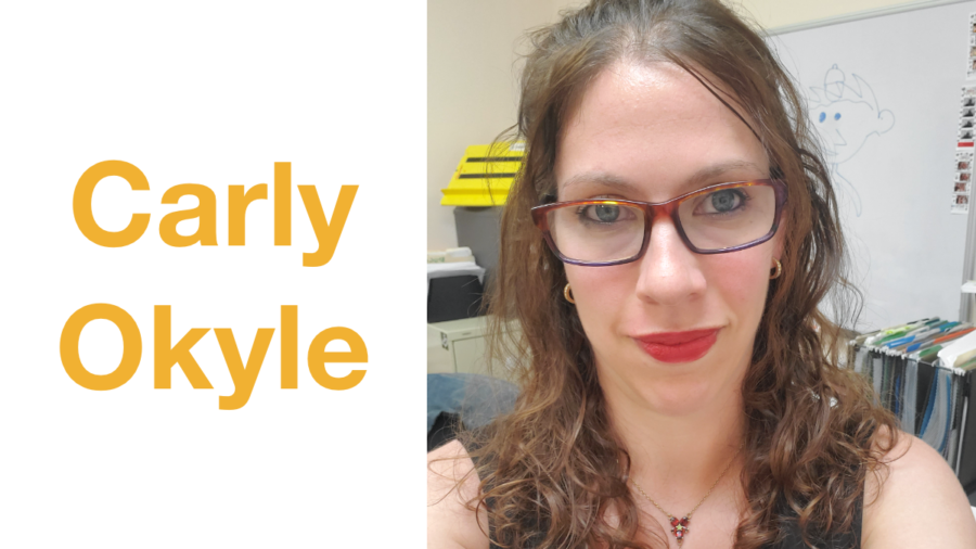 Carly Okyle headshot smiling. Text: Carly Okyle