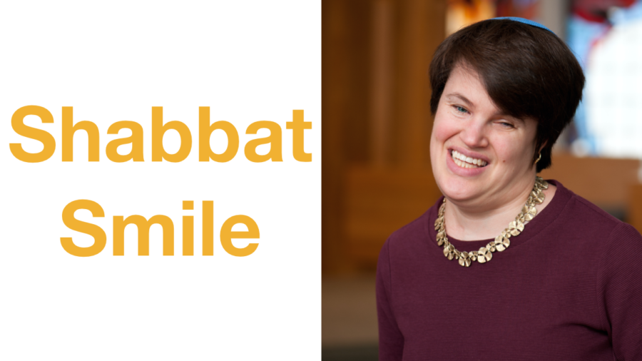 Rabbi Lauren Tuchman smiling headshot. Text: Shabbat Smile