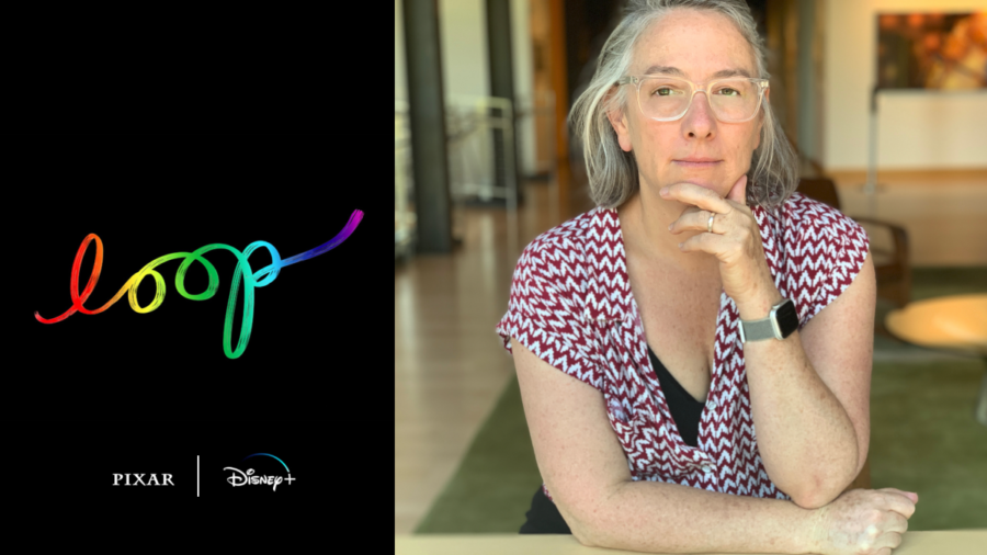 Erica Milsom headshot with her hand on her chin. Loop logo. Logos for Pixar and Disney +