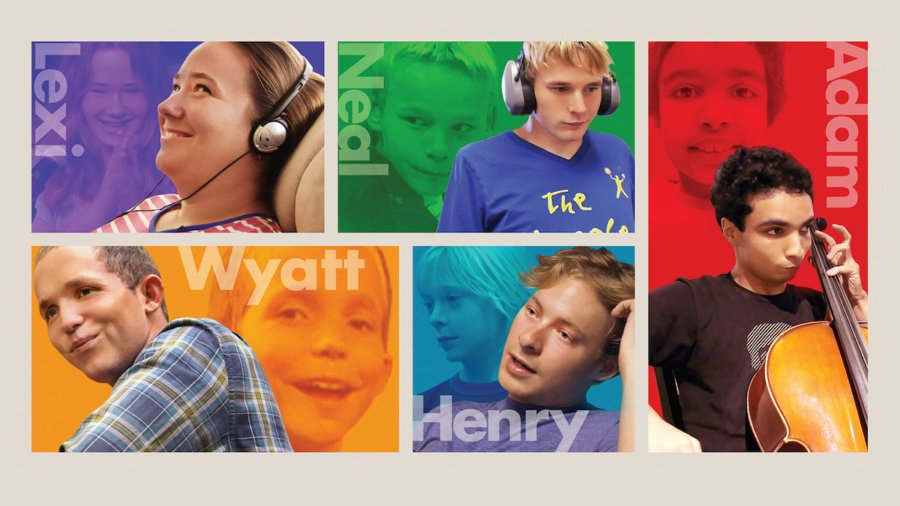 Key art for Autism the Sequel with photos of Lexi, Neal, Adam, Wyatt and Henry from the first movie and today.