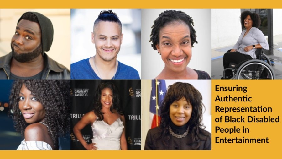 Headshots of Harold Foxx, James Ian, Diana Elizabeth Jordan, Tatiana Lee, Natasha Ofili, Lachi and Janet LaBreck. Text: Ensuring Authentic Representation of Black Disabled People in Entertainment