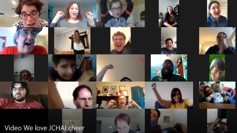 Participants with disabilities in a Zoom call together. Text: Video - We Love JCHAI Cheer