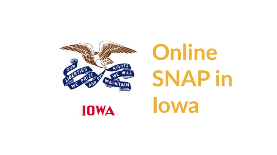 Iowa state flag. Text: Online SNAP in Iowa