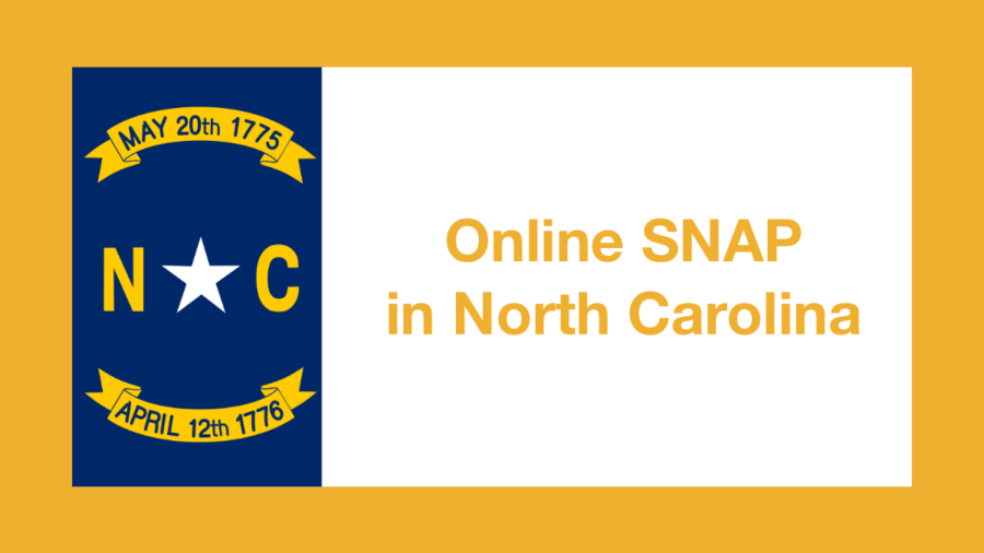 Graphic from North Carolina state flag. Text: Online SNAP in North Carolina