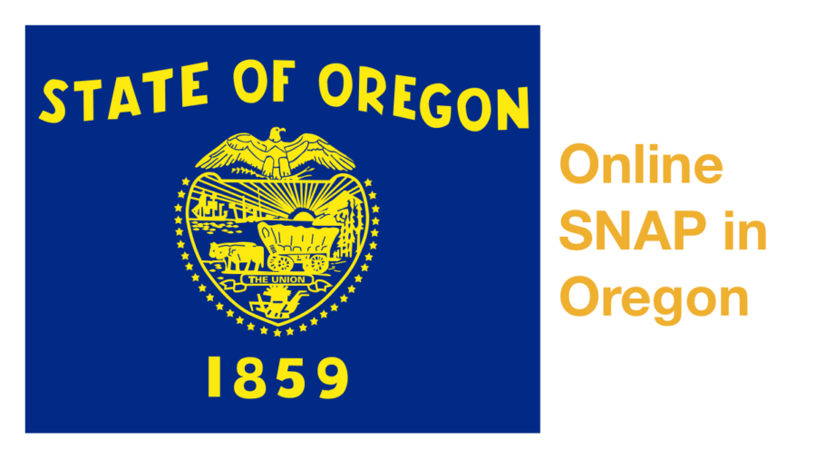 Oregon state flag. Text: Online SNAP in Oregon