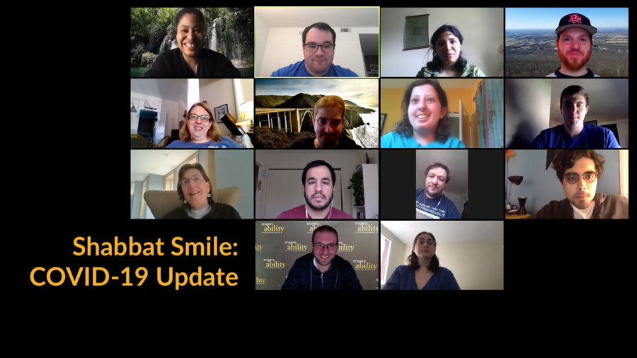 Fourteen diverse people with and without disabilities smiling in a Zoom group meeting. Text - Shabbat Smile COVID-19 Update