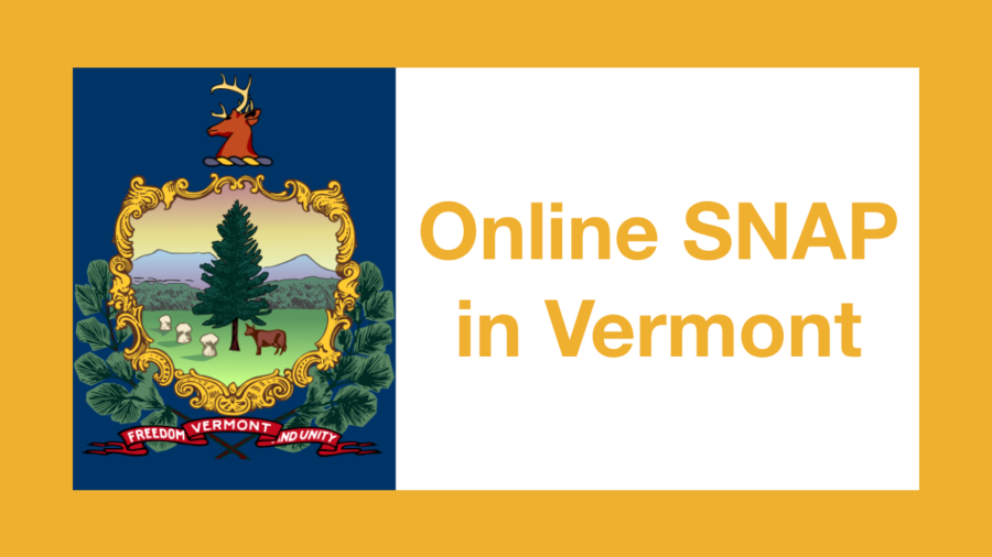 Graphic from Vermont state flag. Text: Online SNAP in Vermont