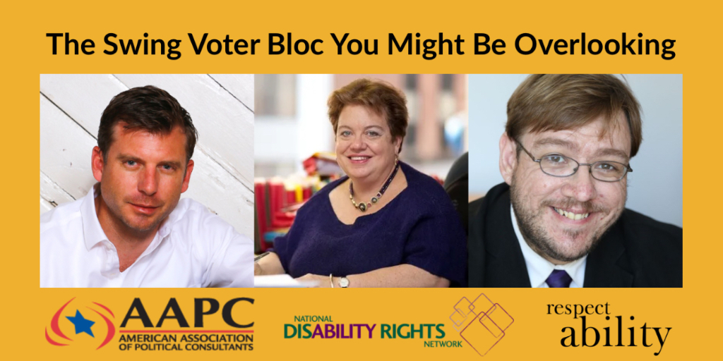 Headshots of Bo Harmon, Celinda Lake, and Philip Kahn-Pauli. Logos for AAPC, NDRN, and RespectAbility. Text: The Swing Voter Bloc You Might Be Overlooking