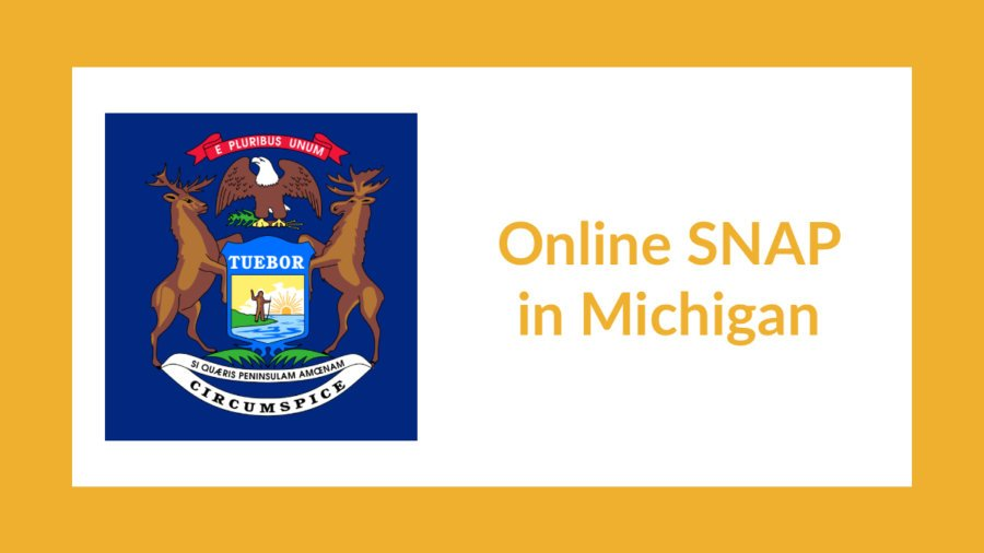 Michigan state flag. Text: Online SNAP in Michigan