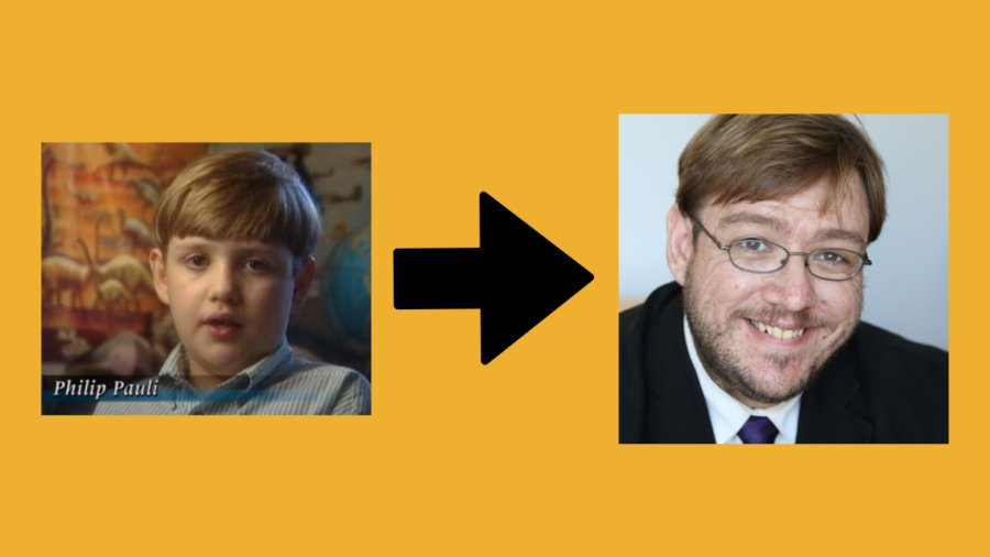 Images of Philip Pauli as a child on an episode of Unsolved Mysteries and Philip Pauli now wearing a suit and tie. Arrow between the two pictures.