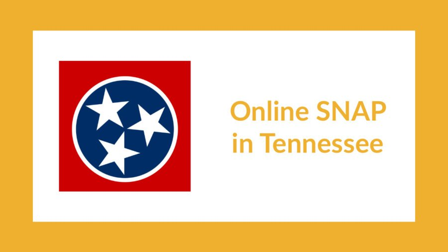 Tennessee state flag. Text: Online SNAP in Tennessee